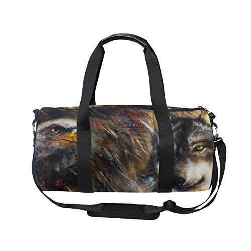 MNSRUU Reisetasche mit Wolf und Adler, groß, Unisex, hohe Kapazität, großes Gepäck, Sporttasche