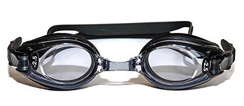 Occhialini da nuoto graduati con diottrie positive e negative, per adulti, colore nero, con colorazione contro i raggi ultravioletti