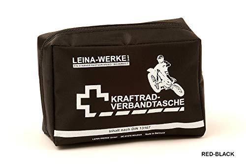 Leina-Werke 17008 Kraftrad-Verbandtasche Typ II ohne Klett, Rot/Schwarz