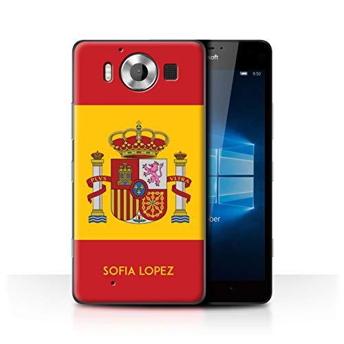 eSwish Personalizado Bandera Nacional Nación Personalizar Funda para el Microsoft Lumia 950 / Español/De/España Diseño/Inicial/Nombre/Texto Carcasa/Estuche/Case