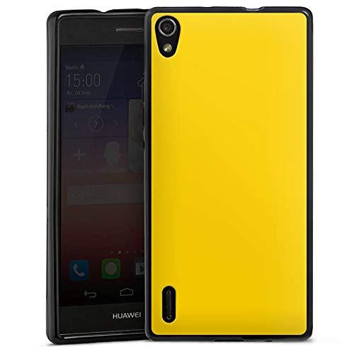 DeinDesign Silikon Hülle kompatibel mit Huawei Ascend P7 Hülle schwarz Handyhülle einfarbig Gelb Thermomixmotive