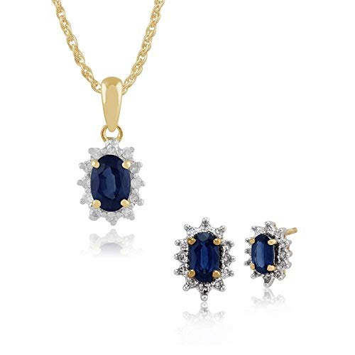 Gemondo 9ct Oro Giallo,zaffiro E Diamante Grappolo Ovale A Lobo Orecchini & 45cm Collana Set