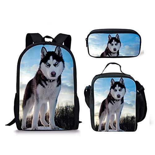INSTANTARTS Husky Dog Middle School Shoulder Backpack Satchel Bookbag Lunch Box Pencil Case