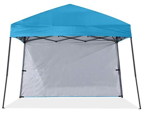 ABCCANOPY Pop-up-Pavillon im Freien,schräg Beine,Strandcampingzelt mit 1 Seitenwand,inkl. Rucksacktaschen, Pfähle und Seile,himmelblau