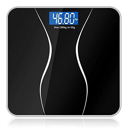 W-SHTAO L-WSWS con un Peso báscula de baño de la Escala, la Escala del Peso de Balance de precisión electrónica Digital Cuerpo Smart Home Piso, 180Kg / 400 Libras Negro Escalas electronicas