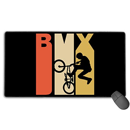 liulishuan Large Gaming Mouse Pad/Mat, Vintage Style BMX Bicycle Custom Mouse Pads with Non-Slip Rubber Base for Computers, Durable Stitched Edges Unisex8