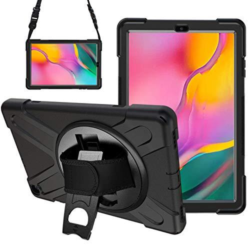 Gerutek Custodia per Samsung Galaxy Tab A 10.1 2019 SM-T510/T-515, Militare Resistente Antiurto 360 Cavalletto Rotante e Tracolla Silicone Rigida Protettiva Cover -Nero