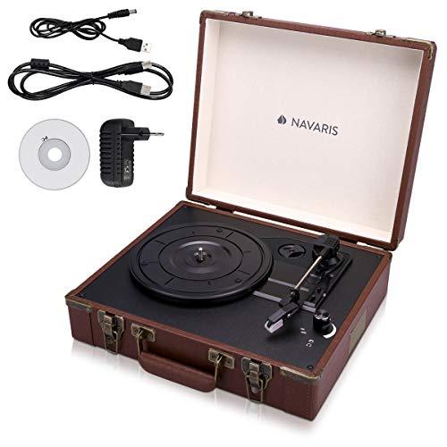 Navaris Retro Koffer Plattenspieler mit Lautsprecher - USB Port zum Digitalisieren - Krokoleder-Optik - Vintage Schallplatten Spieler Braun-Braun