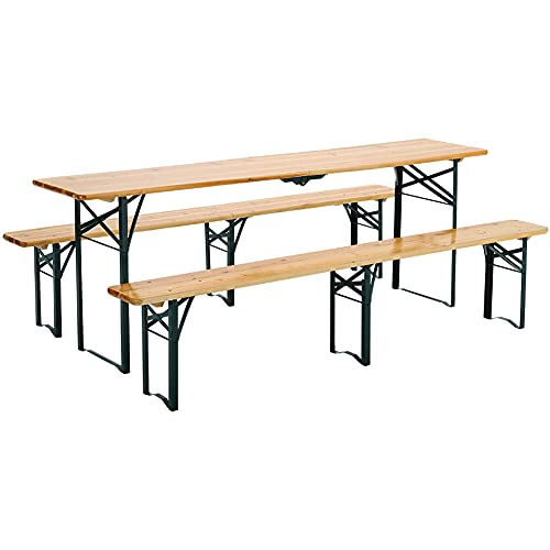 Warmiehomy Folding Beer Bench and Table Set Outdoor Wood Dining Table Bench 3 Piece Garden Furniture Set Portable Picnic Trestle Table Bench (Table and Bench Set-A)