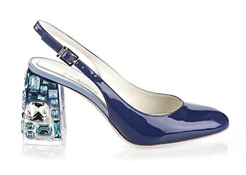 "Baldinini 6715 Blue Calfskin Italian Designer Women 3"" High Heel Sandals"