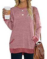 Womens Tops Long Sleeve Loose Fit Sweaters Casual Comfy Tunic Sweatshirts Pink XXL