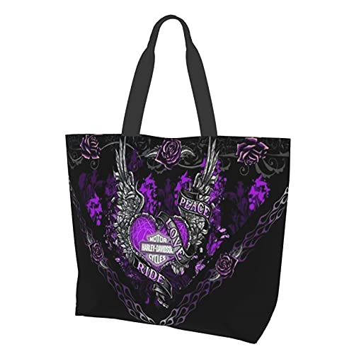 Harley Davidson Women Canvas Tote bag with Zipper and Pocket,Casual Crossbody bags for school,large hobo bags,shopping shoulder bags