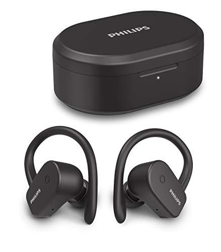 Philips A5205BK/00 Auriculares Inalámbricos Deportivos Intrauditivos (Micrófono, Controlador Neodimio 6 mm, Resistencia Agua IPX7, Carga Rápida, Ganchos de Oreja Desmontables) Negro - Modelo 2020/2021