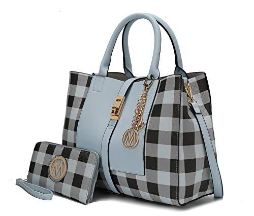 Mia K Collection Crossbody Satchel-Tote Bag for Women, Wristlet Wallet Purse Set, PU Leather Top-Handle Handbag Light Blue