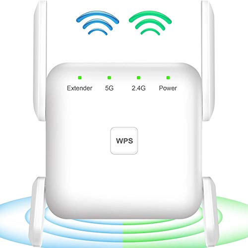 WiFi Extender, 1200Mbps WiFi Booster, WiFi Range Extenders Signal Booster for Home, 2.4G & 5G Dual Bands WiFi Repeater 360° Full Coverage High Speed WiFi Booster and Signal Amplifier with 4 Antennas