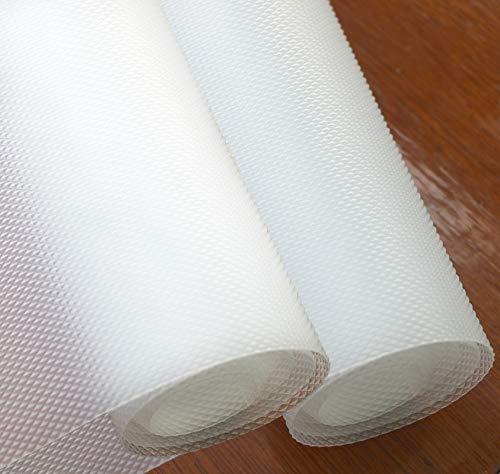 Hersvin 60cmx150cmx2 Rotoli Tappetino per Cassetti, Tappetini Non-Adesivo Eva Plastica Rotolo Carta per Mensola Cassetto Frigorifero Tavolo Mobile Cucina Lavello (Trasparente Diamante)