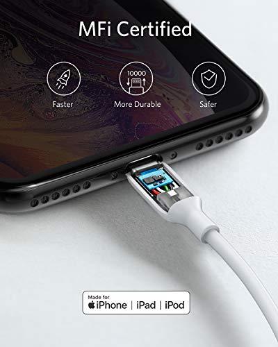 Anker iPhone Ladekabel,Powerline III Lightning Kabel 90 cm lang,extrem strapazierfähig, MFi-zertifiziertes Ladekabel für iPhone X, Xs, Xr, Xs Max, 8, 8 Plus, 7, 7 Plus, und mehr (2x0.9m, Weiß)