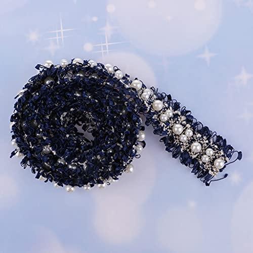 Diaod Cinta de Encaje de Adornos con Cuentas de Perlas de 1 año para cinturón de Ropa de Cortina de Boda (Color : Black)