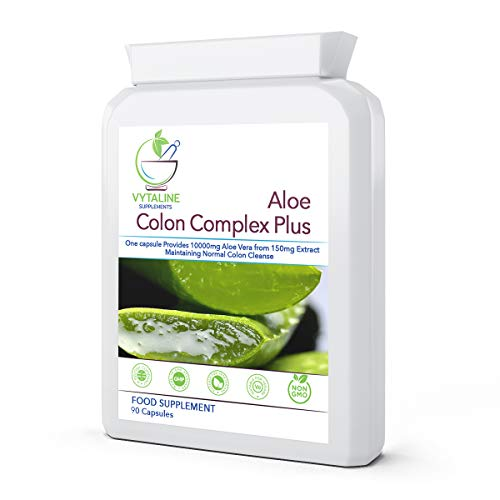 Aloe Vera Capsules Detox Colon Cleanse Supplements – High Strength 90 Vegan Capsules I Aloe Vera 10,000mg/capsule with Natural Herbal Ingredients for Colon Support, Bowel Cleanse, Detox I Made in UK