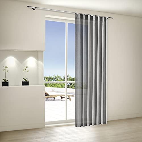 Bonilo Fertig Vorhang 140x245cm | h.transparent anthrazit | Wellenband & Stangendurchzug | Schal