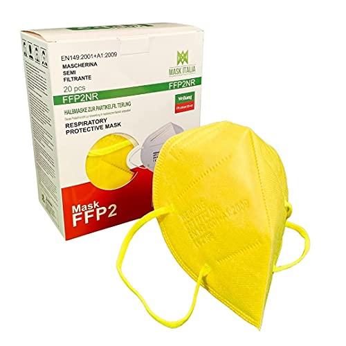 Weikang 20 farbige FFP2-Maske. CE-Zertifikat Italien Erwachsene. Desinfizierte und einzeln versiegelte FFP2-Maske. (Gelbe)