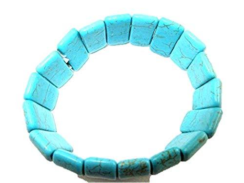 "HiJet Beautiful Oval shape Turquoise Howlite Beads 8"" Stretchy Bangle Bracelets for women Nepal Tibetan India Asia Balancing Positive Energy Harmony Luck Natural Genuine Fashion Beauty"