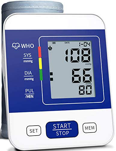 COOCEER Upper Arm Digital Blood Pressure Monitor Approved by FDA with 2 Users 198 Memory,Automatic Heart Rate Pulse Monitor with Large Screen Display Home Use Care Device