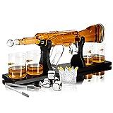 whisiskey® whisky decanter – fucile – 1000 ml - regalo uomo – include 4x bicchieri wisky, 4x pietre whiskey e beccuccio