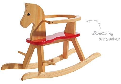 roba Schaukelpferd, Schaukeltier Massivholz natur rot, Schaukelstuhl mitwachsend für Babys und Kleinkinder durch abnehmbaren Schutzring - 3