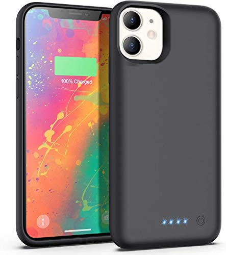 iPosible Cover Batteria per iPhone 11, 6800mAh Cover Ricaricabile Custodia Batteria Cover Caricabatteria Battery Case per iPhone 11 [6.1''] Cover Power Bank Backup Charger Case