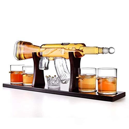 Juego de Soporte de Jarra de Vidrio, Elegante Jarra de Whisky con Rifle de 800 ml con Vasos de Whisky de 4 Bolas, Base de Madera de Caoba, Regalos Grandes