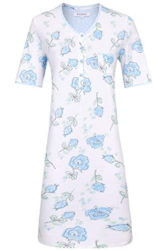 Ringella Damen *Nachthemd mit Knopfleiste bleu 36 0211035, bleu, 36