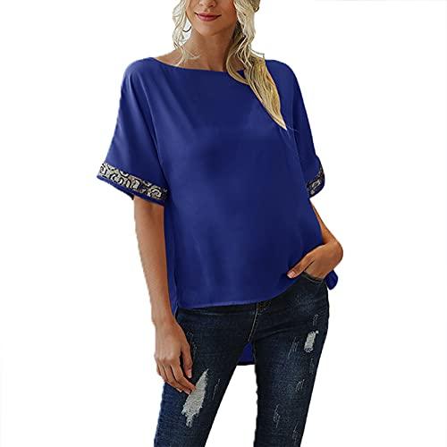 Primavera Y Verano Mujer Suelta Cuello Redondo Color SóLido Costura Estampado De Leopardo Casual Gasa Top Camiseta Ajustada Mujer