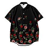 CHUIKUAJ Camisa Casual de Manga Corta para Hombre Cárdigan Kimono Camisetas de Moda con Estampado de Flores de Rosas Hawaianas Ropa Calle Holgada Verano Gran Tamaño S-6XL,Black-3XL