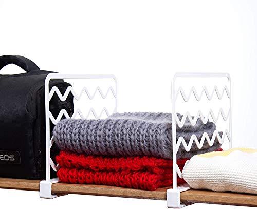 sohefia 2 PCS Thickened Wood Shelf Dividers,White Plastic Closet Shelf Separators Clothing Organizer Perfect for Bedroom Shelving Organization and Kitchen Cabinet Shelf Storage