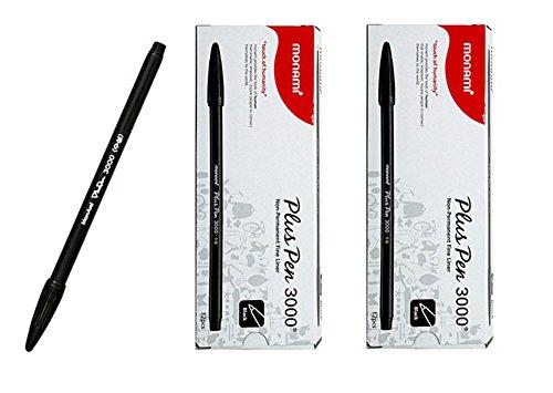 Monami Plus Pen 3000 Office Sign Pen Felt Tip Non Permanent Pen Fine Liner Water Based Ink Color Pen Complete Black 2 Dozen Box Total 24 Pens