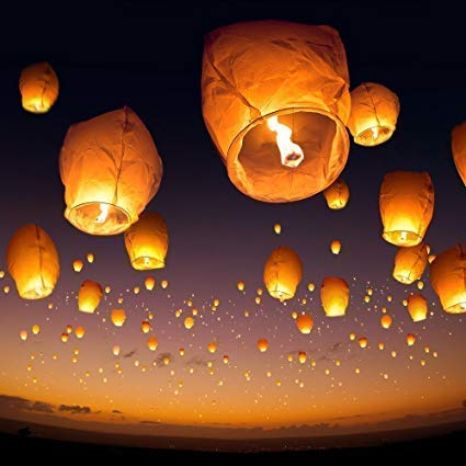 Shoppingdoor Sky Lanterns Paper Hot Air Balloon Colorful Make A Wish High Flying Sky Lantern Hot Air Balloon with Fuel Wax Candle for Diwali/Christmas/Marriage/Birthday/All Festival/Pack of (2)