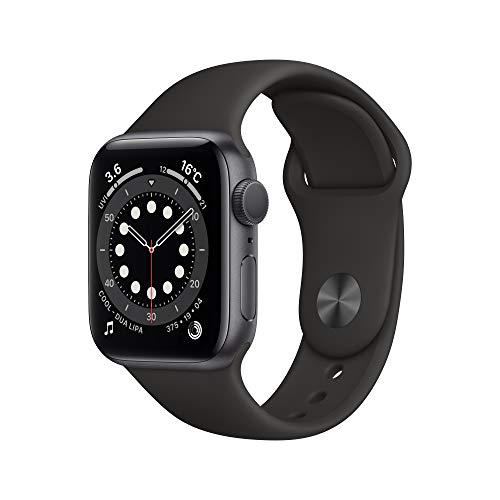 最新 AppleWatch Series 6(GPSモデル)- 40mmスペースグレイアルミニウムケースとブラックスポーツバンド
