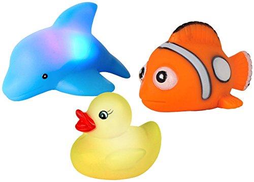 Playtastic Badewannentiere: Blinkende Badewannen-Tierchen im 3er-Set (Badespielzeug)