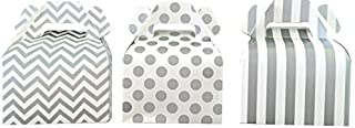 Outside the Box Papers Chevron, Stripe and Polka Dot Paper Gable Favor Boxes 36 Pack Silver, White