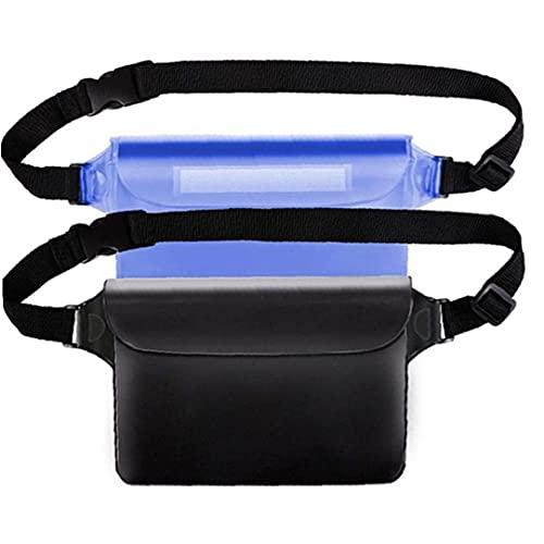 Pantalla De Bolsas Impermeables De 2pcs Cinturón Ajustable Táctil para Nadar, Bucear, Navegar, Pescar, Playa Azul Negro