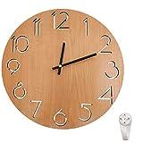 Outpicker Orologio da parete in legno 30 cm Silenzioso Non ticchettio Vintage in stile rustico, per Soggiorno, Cucina, Giardino (Marrone)