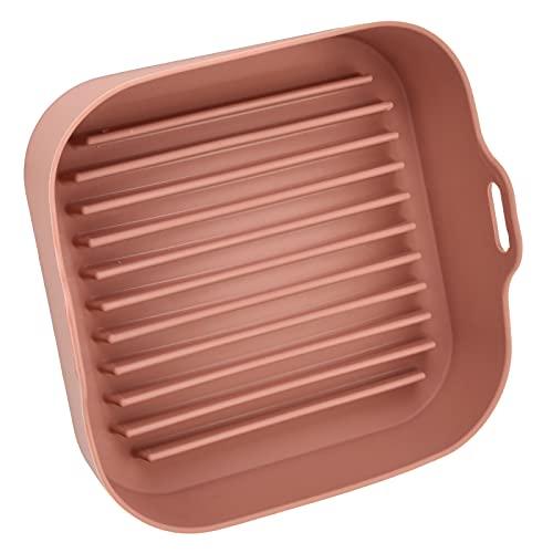 Accesorio de freidora eléctrica, cesta de freidora antiadherente resistente al calor para horno microondas para olla arrocera para vaporizador para freidora(Opp cuadrado marrón)