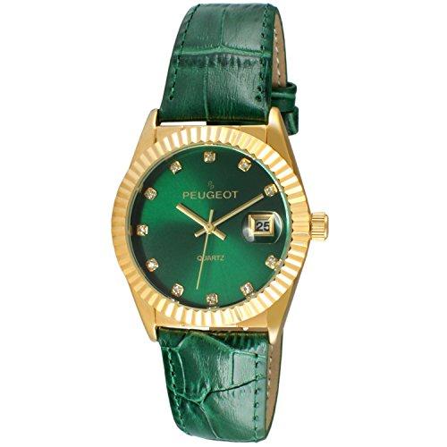 Peugeot Women's Dress Quartz Watch with Coin Edge Bezel, Date Window & Leather Band