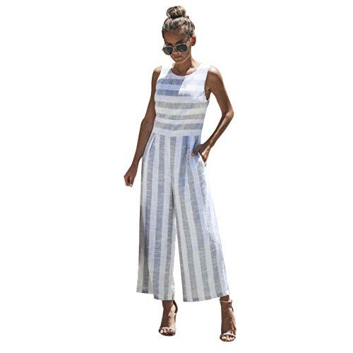 TWIFER Damen Ärmelloses Gestreiftes Overall Lässig Sommer Clubwear Weites Beinhosen Strand Boho Outfit (L/38, X-weiß)