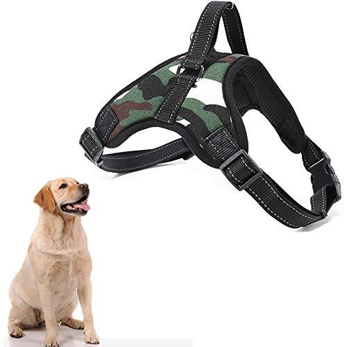 Arnés ajustable para perros,chaleco suave acolchado para el pecho(camuflaje, L)