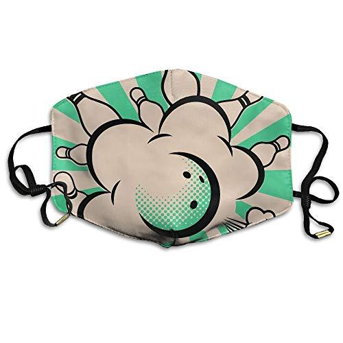 Bowlingkugeln Pop Art Bedruckte Maske für Männer und Frauen Staubbeständige atmungsaktive Polyestermaske