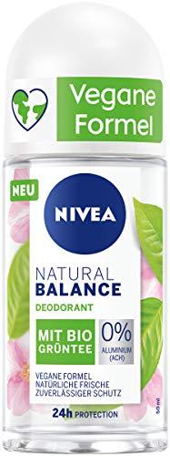 NIVEA Desodorante Natural Balance Bio de té verde (50 ml), desodorante roll-on con 95% de ingredientes de origen natural y fórmula vegana, para mujer de protección 24 horas