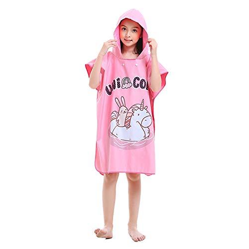 MOMIN-HM Kinder Umhang Strandtuch Kind scherzt rosa Poncho-Tuch für Strand-Schwimmen-Bad-Kapuzentuch Microfiber-Bademantel-schnell trocknendes Kap-Tuch für Mädchen, Jungen