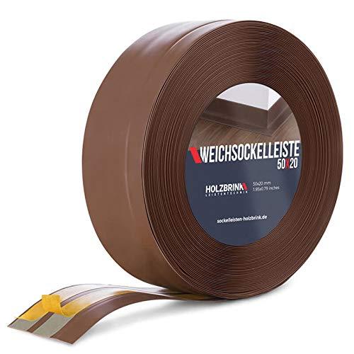HOLZBRINK Weichsockelleiste selbstklebend SCHOKOLADE Knickleiste, 50x20mm, 25 Meter